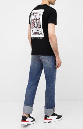 Мужская хлопковая футболка ALEXANDER MCQUEEN черного цвета, арт. 624179/QPZ64 | Фото 2