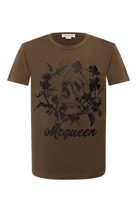 Мужская хлопковая футболка ALEXANDER MCQUEEN хаки цвета, арт. 624177/QPZ63 | Фото 1