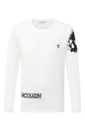 Мужская хлопковый лонгслив ALEXANDER MCQUEEN белого цвета, арт. 624173/QPZ62 | Фото 1