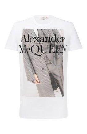 Мужская хлопковая футболка ALEXANDER MCQUEEN белого цвета, арт. 624171/QPZ61 | Фото 1
