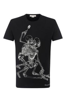 Мужская хлопковая футболка ALEXANDER MCQUEEN черного цвета, арт. 624170/QPZ60 | Фото 1