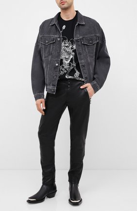Мужская хлопковая футболка ALEXANDER MCQUEEN черного цвета, арт. 624170/QPZ60 | Фото 2