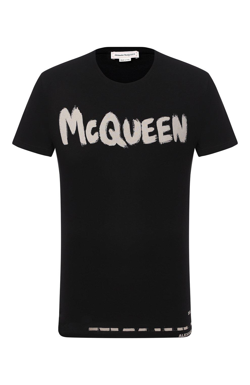 Мужская хлопковая футболка ALEXANDER MCQUEEN черного цвета, арт. 622104/QPZ57   Фото 1 (Рукава: Короткие; Длина (для топов): Стандартные; Мужское Кросс-КТ: Футболка-одежда; Материал внешний: Хлопок)