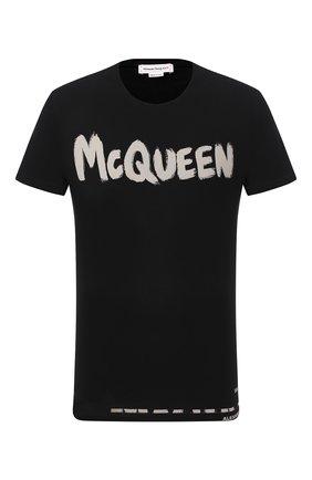 Мужская хлопковая футболка ALEXANDER MCQUEEN черного цвета, арт. 622104/QPZ57 | Фото 1