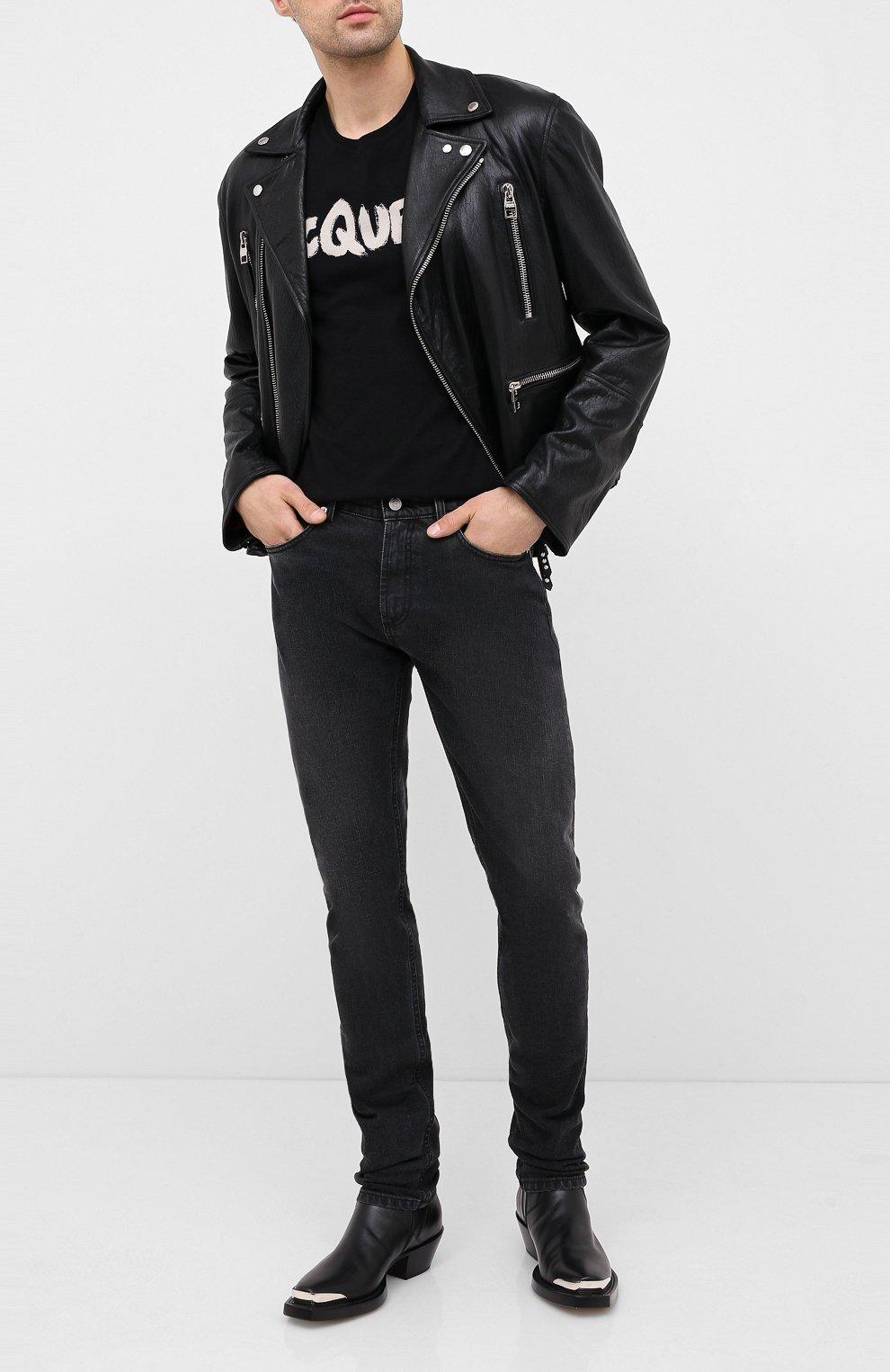 Мужская хлопковая футболка ALEXANDER MCQUEEN черного цвета, арт. 622104/QPZ57   Фото 2 (Рукава: Короткие; Длина (для топов): Стандартные; Мужское Кросс-КТ: Футболка-одежда; Материал внешний: Хлопок)
