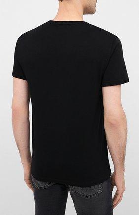 Мужская хлопковая футболка ALEXANDER MCQUEEN черного цвета, арт. 622104/QPZ57   Фото 4 (Рукава: Короткие; Длина (для топов): Стандартные; Мужское Кросс-КТ: Футболка-одежда; Материал внешний: Хлопок)