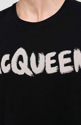 Мужская хлопковая футболка ALEXANDER MCQUEEN черного цвета, арт. 622104/QPZ57   Фото 5 (Рукава: Короткие; Длина (для топов): Стандартные; Мужское Кросс-КТ: Футболка-одежда; Материал внешний: Хлопок)