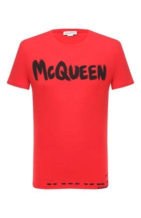 Мужская хлопковая футболка ALEXANDER MCQUEEN красного цвета, арт. 622104/QPZ57 | Фото 1