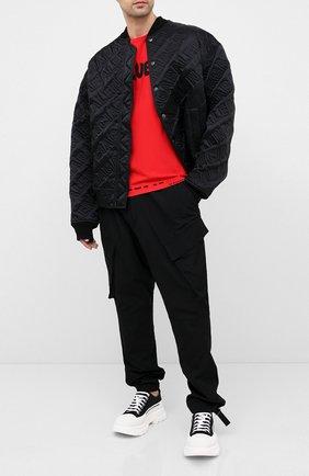 Мужская хлопковая футболка ALEXANDER MCQUEEN красного цвета, арт. 622104/QPZ57 | Фото 2