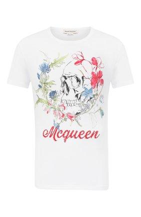 Мужская хлопковая футболка ALEXANDER MCQUEEN белого цвета, арт. 622100/QPZ54 | Фото 1