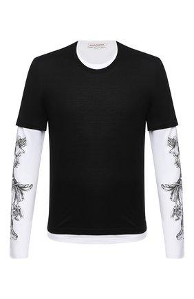 Мужская хлопковый лонгслив ALEXANDER MCQUEEN черно-белого цвета, арт. 615286/QPZ66 | Фото 1