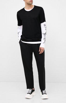 Мужская хлопковый лонгслив ALEXANDER MCQUEEN черно-белого цвета, арт. 615286/QPZ66 | Фото 2
