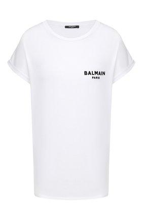 Женская хлопковая футболка BALMAIN белого цвета, арт. UF11351/I382   Фото 1