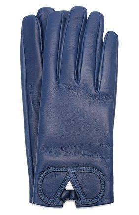 Женские кожаные перчатки VALENTINO синего цвета, арт. UW2GDA15/IDM | Фото 1