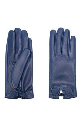 Женские кожаные перчатки VALENTINO синего цвета, арт. UW2GDA15/IDM | Фото 2