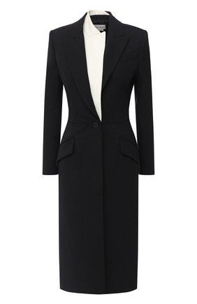 Женское пальто из шерсти и шелка ALEXANDER MCQUEEN черного цвета, арт. 632199/QJAAA   Фото 1