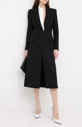Женское пальто из шерсти и шелка ALEXANDER MCQUEEN черного цвета, арт. 632199/QJAAA   Фото 2