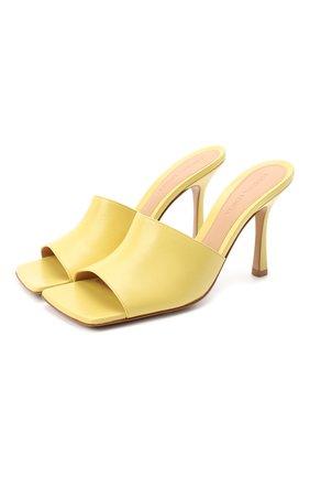Женские кожаные мюли BOTTEGA VENETA желтого цвета, арт. 610538/VBSF0 | Фото 1