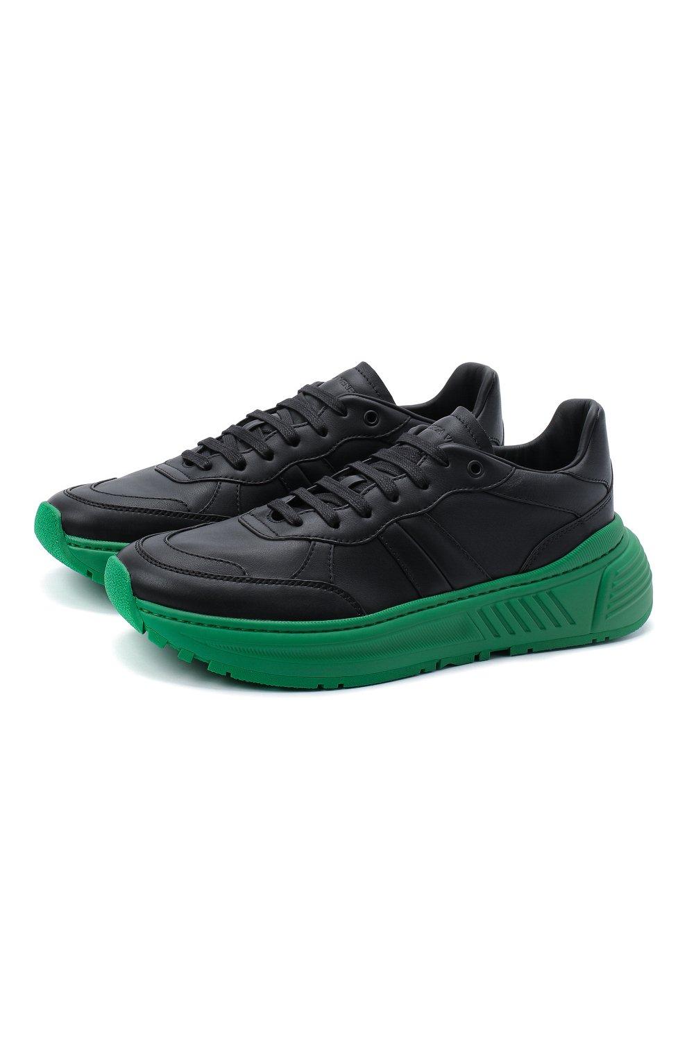 Мужские кожаные кроссовки BOTTEGA VENETA черного цвета, арт. 565646/VT040   Фото 1 (Материал внешний: Кожа; Материал внутренний: Натуральная кожа; Стили: Гранж; Подошва: Массивная)