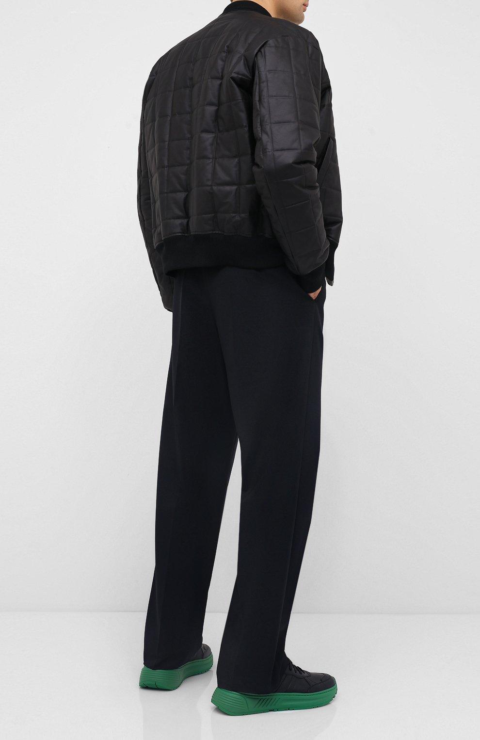 Мужские кожаные кроссовки BOTTEGA VENETA черного цвета, арт. 565646/VT040   Фото 2 (Материал внешний: Кожа; Материал внутренний: Натуральная кожа; Стили: Гранж; Подошва: Массивная)
