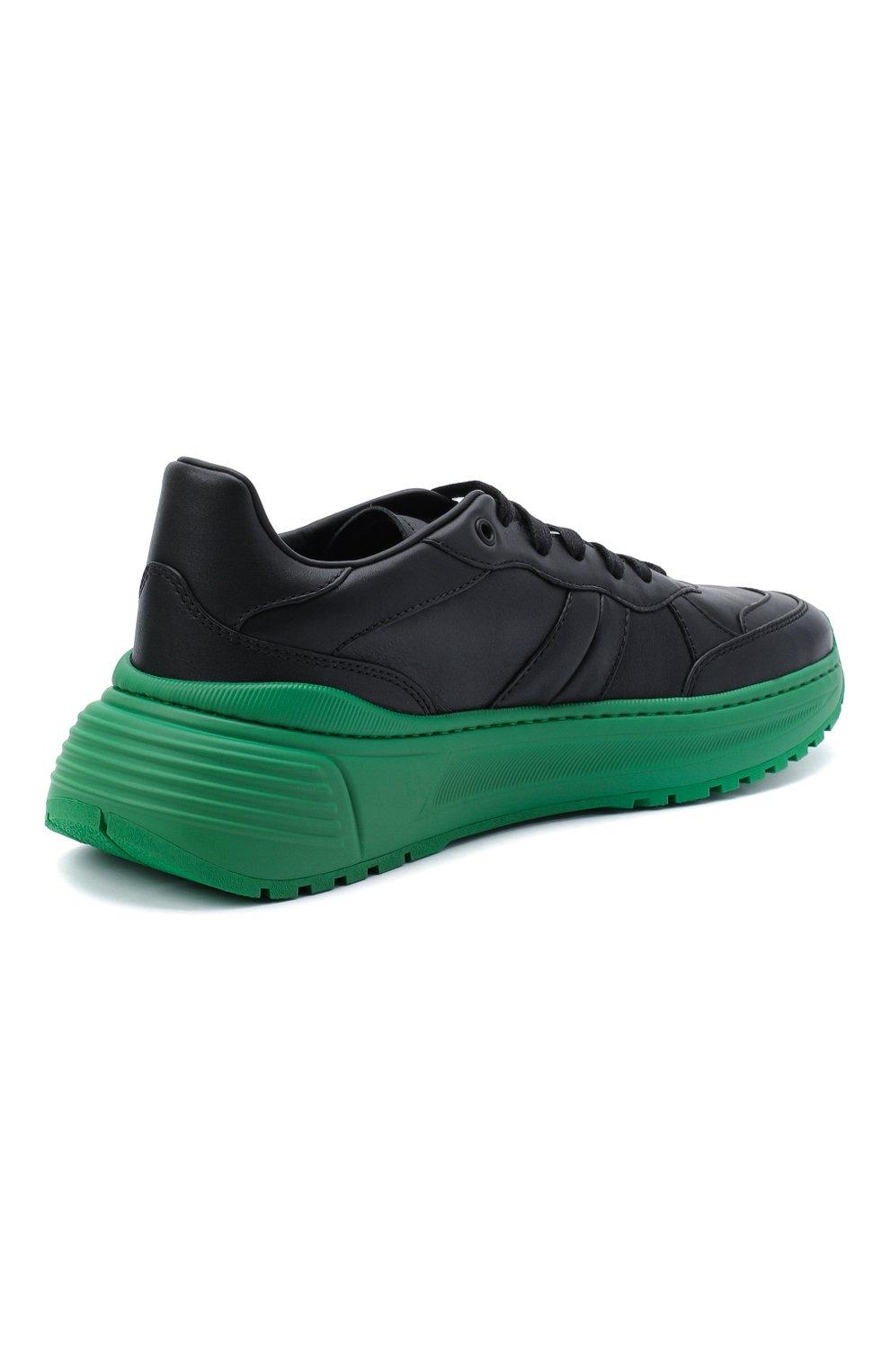 Мужские кожаные кроссовки BOTTEGA VENETA черного цвета, арт. 565646/VT040   Фото 4 (Материал внешний: Кожа; Материал внутренний: Натуральная кожа; Стили: Гранж; Подошва: Массивная)