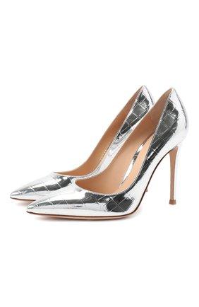 Женская кожаные туфли gianvito 105 GIANVITO ROSSI серебряного цвета, арт. G28470.15RIC.MCRARGE | Фото 1