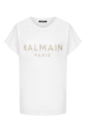 Женская футболка BALMAIN белого цвета, арт. UF11351/I509 | Фото 1