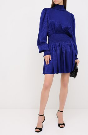 Женское шелковое платье BALMAIN синего цвета, арт. UF16306/S055 | Фото 2