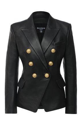 Женский кожаный жакет BALMAIN черного цвета, арт. UF1997499/163P | Фото 1
