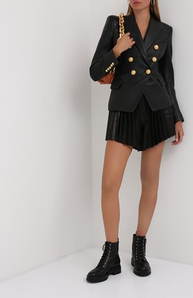 Женский кожаный жакет BALMAIN черного цвета, арт. UF1997499/163P | Фото 2