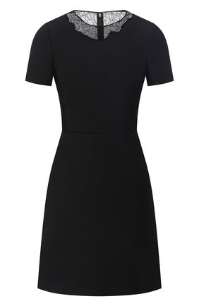 Женское платье из шерсти и шелка VALENTINO черного цвета, арт. UB3VATE01CF   Фото 1