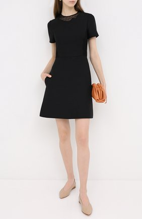 Женское платье из шерсти и шелка VALENTINO черного цвета, арт. UB3VATE01CF   Фото 2