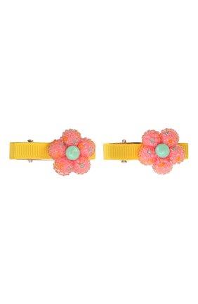 Детская комплект из двух заколок shiny flower JUNEFEE разноцветного цвета, арт. 6255 | Фото 1