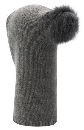 Детского кашемировая шапка-балаклава YVES SALOMON ENFANT серого цвета, арт. 20WEA502XXCARD | Фото 2