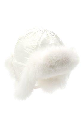 Детского пуховая шапка-ушанка YVES SALOMON ENFANT белого цвета, арт. 21WEA015XXD0GW | Фото 1