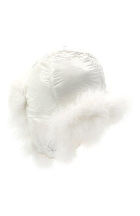 Детского пуховая шапка-ушанка YVES SALOMON ENFANT белого цвета, арт. 21WEA015XXD0GW | Фото 2