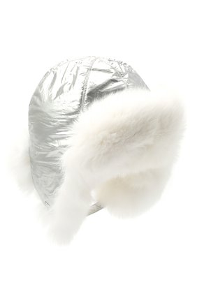 Детского пуховая шапка-ушанка YVES SALOMON ENFANT серебряного цвета, арт. 21WEA015XXD0MW | Фото 1
