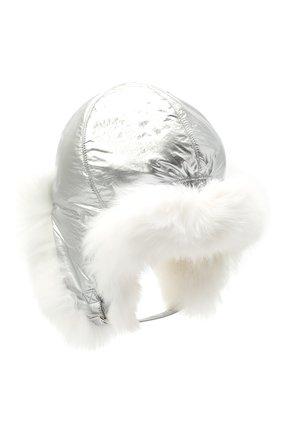 Детского пуховая шапка-ушанка YVES SALOMON ENFANT серебряного цвета, арт. 21WEA015XXD0MW | Фото 2