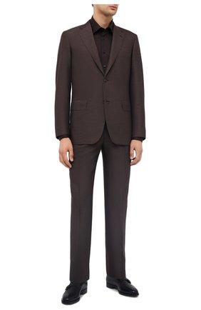 Мужская хлопковая сорочка ZILLI коричневого цвета, арт. MFU-00401-01044/0001 | Фото 2
