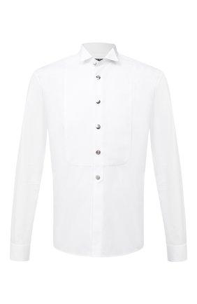 Мужская хлопковая сорочка BALMAIN белого цвета, арт. UH12473/T006 | Фото 1 (Материал внешний: Хлопок; Длина (для топов): Стандартные; Рукава: Длинные; Воротник: Бабочка)