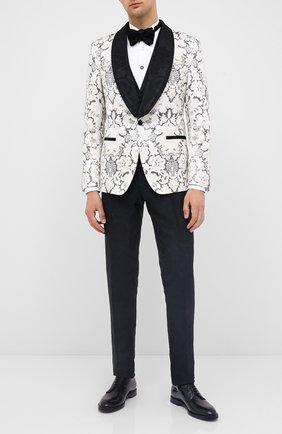 Мужская хлопковая сорочка BALMAIN белого цвета, арт. UH12473/T006 | Фото 2 (Материал внешний: Хлопок; Длина (для топов): Стандартные; Рукава: Длинные; Воротник: Бабочка)