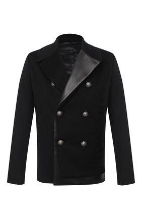 Мужской комбинированное пальто BALMAIN черного цвета, арт. UH18824/W070 | Фото 1