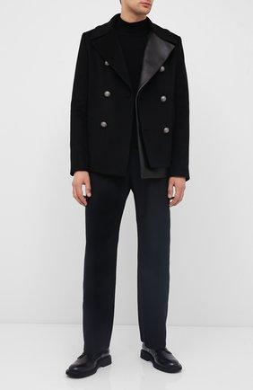 Мужской комбинированное пальто BALMAIN черного цвета, арт. UH18824/W070 | Фото 2
