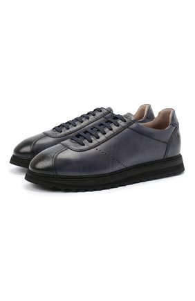 Мужские кожаные кроссовки DOUCAL'S темно-синего цвета, арт. DU1795WINNPT0212B02 | Фото 1