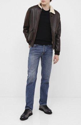 Мужские кожаные кроссовки DOUCAL'S серого цвета, арт. DU1795WINNPT0212N05 | Фото 2