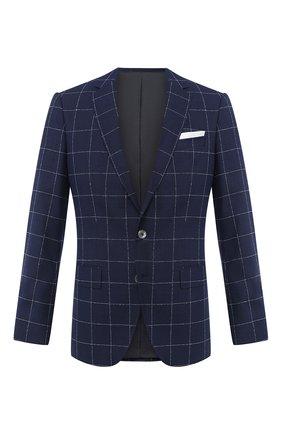 Мужской шерстяной пиджак BOSS синего цвета, арт. 50432907 | Фото 1