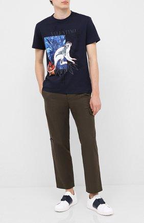 Мужская хлопковая футболка VALENTINO синего цвета, арт. UV3MG07Z6JM | Фото 2