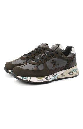 Мужские комбинированные кроссовки mase PREMIATA хаки цвета, арт. MASE/VAR4005 | Фото 1