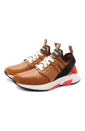 Мужские комбинированные кроссовки TOM FORD светло-коричневого цвета, арт. J1212T-LNL005 | Фото 1