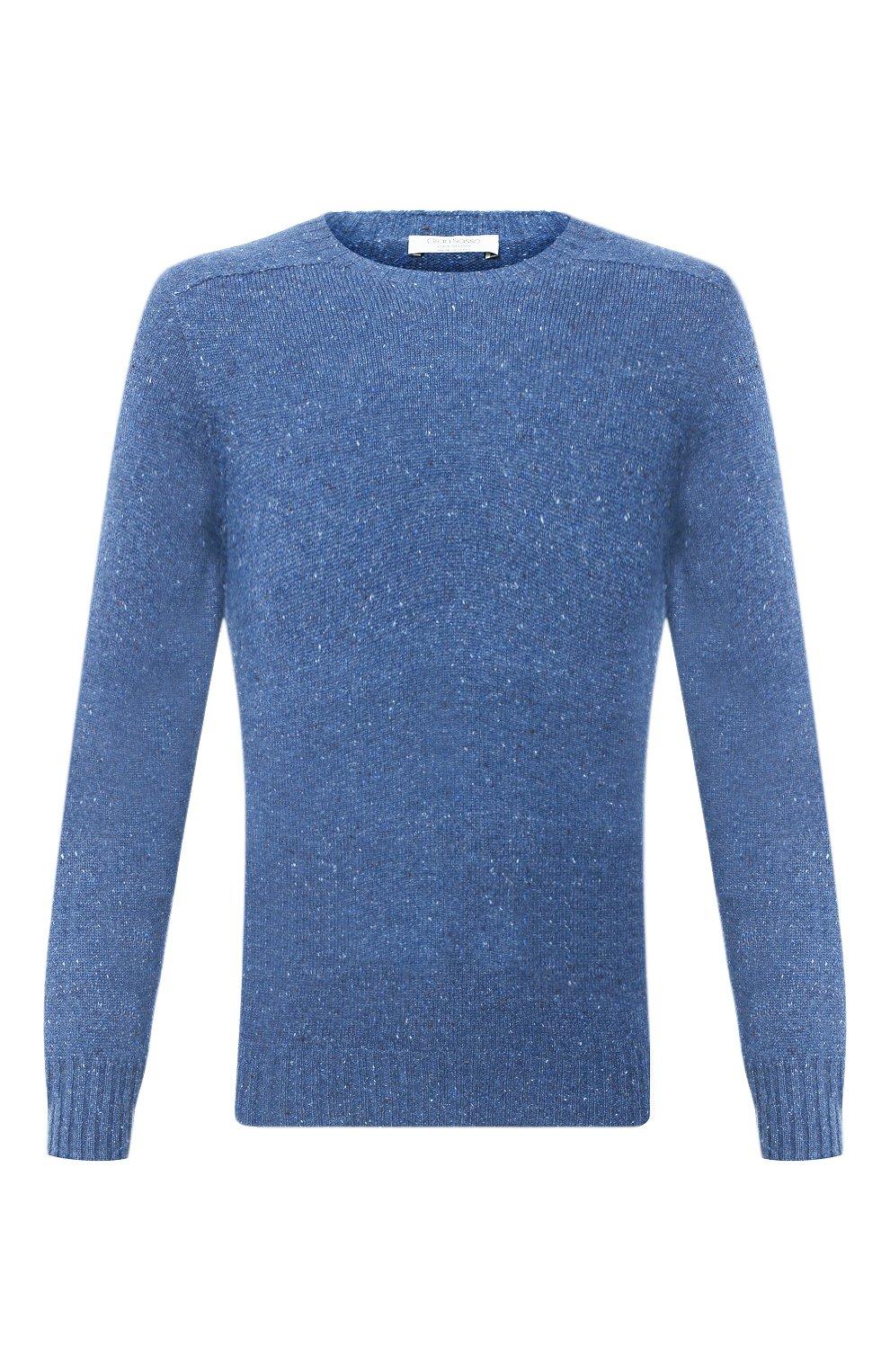 Мужской кашемировый свитер FEDELI синего цвета, арт. 3UI08095 | Фото 1 (Материал внешний: Шерсть; Рукава: Длинные; Принт: Без принта; Длина (для топов): Стандартные)